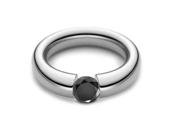 1ct Black Onyx Tension Set Tapered Engagement Ring in Stainless Steel
