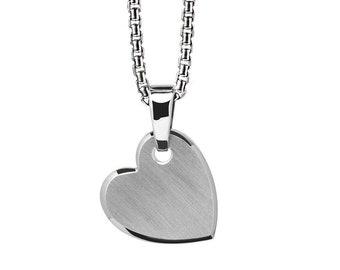 Sideways Heart Charm in Stainless Steel by Taormina Jewelry