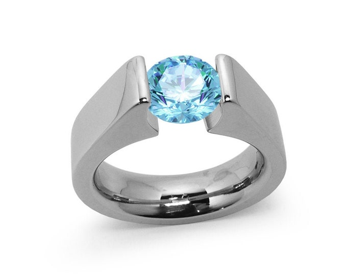 1ct Blue Topaz Tension Set Steel High setting Engagement Ring