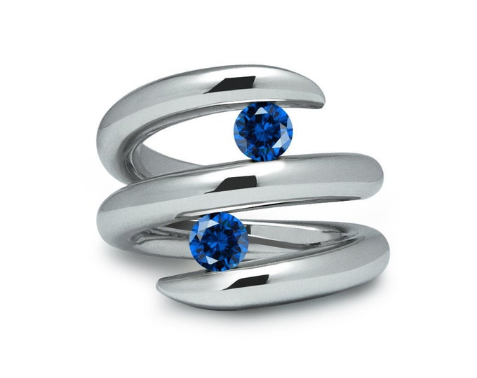 Two Blue Sapphire double row bypass tension set ring in stainless steel by Taormina Jewelry