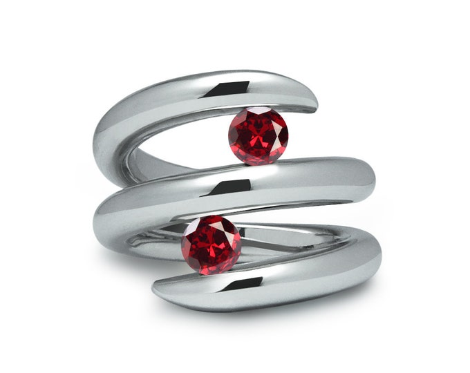 Two Garnet double row bypass tension set ring in stainless steel by Taormina Jewelry