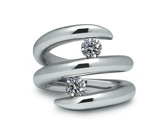 Two Tension Set White Sapphire double row bypass ring in stainless steel by Taormina Jewelry