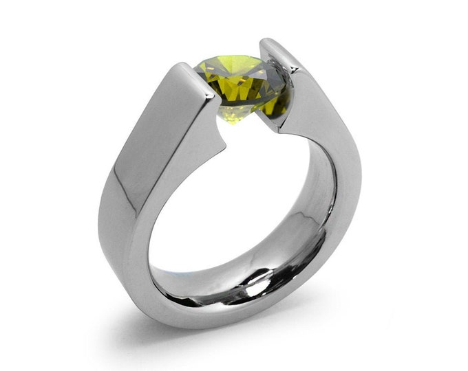 1ct Peridot Tension Set Steel High setting Engagement Ring by Taormina Jewelry