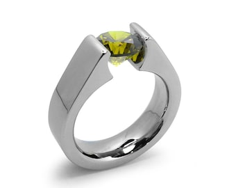 1.5ct Peridot Tension Set Steel High setting Engagement Ring by Taormina Jewelry