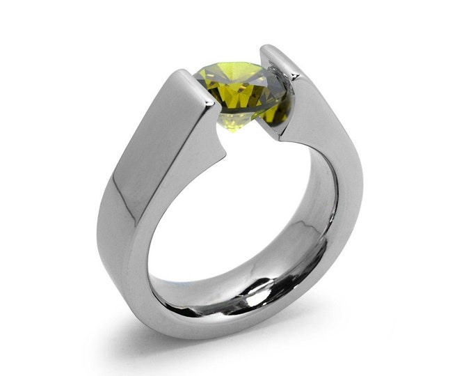 1.5ct Peridot Tension Set Steel High setting Engagement Ring