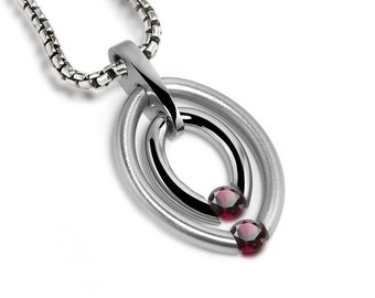 Two Garnet Tension Set Double Oval Pendant by Taormina Jewelry