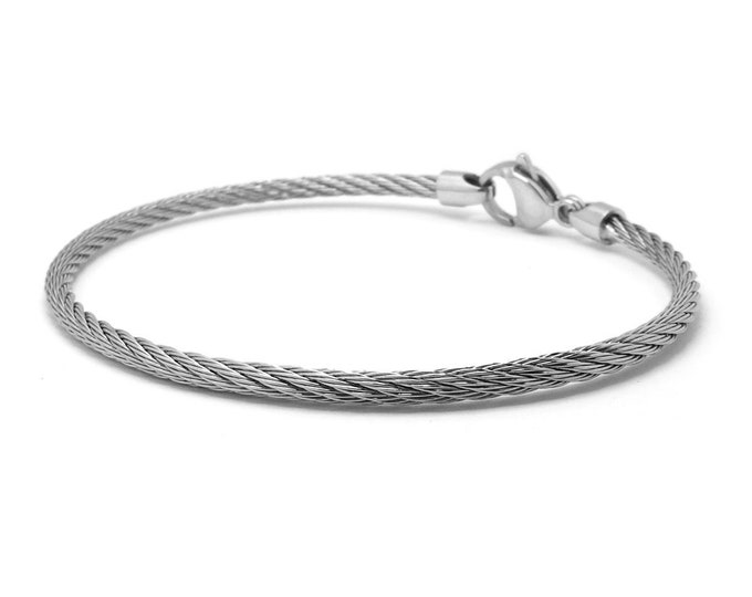 3 mm Stainless Steel Cable Wire Bracelet by Taormina Jewelry