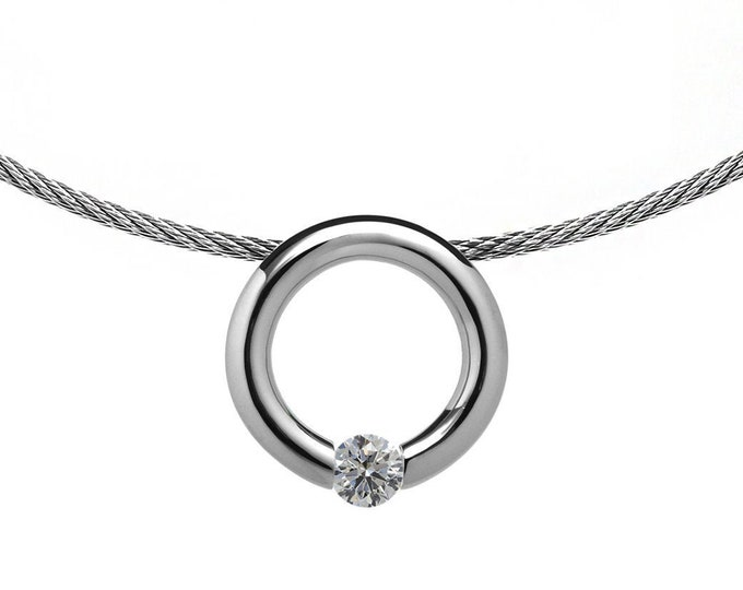 White Sapphire Tension Set Pendant  with Stainless Steel Cable choker