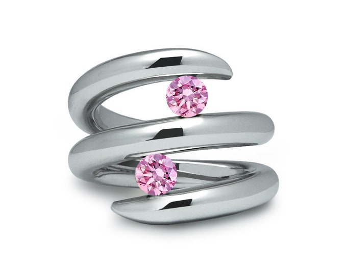 Two Pink Sapphire double row bypass tension set ring in stainless steel by Taormina Jewelry