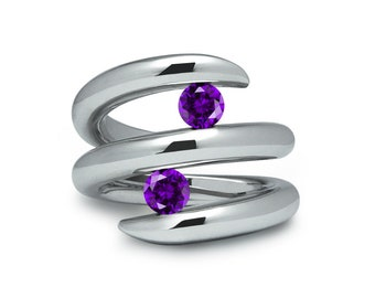 Two Amethyst double row bypass tension set ring in stainless steel by Taormina Jewelry