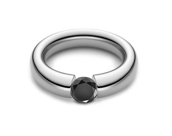 1.5ct Black Onyx Engagement Tension High Setting Ring in Stainless Steel
