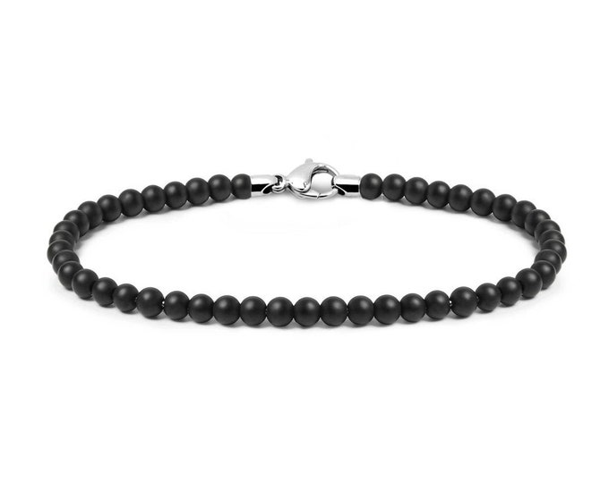 4 mm Obsidian Bead Bracelet with Stainless Steel clasp by Taormina Jewelry