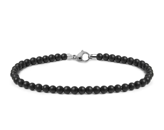 4 mm Obsidian Bead Necklace with Stainless Steel clasp