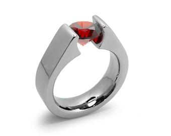 1ct Garnet Tension Set Steel High setting Engagement Ring by Taormina Jewelry