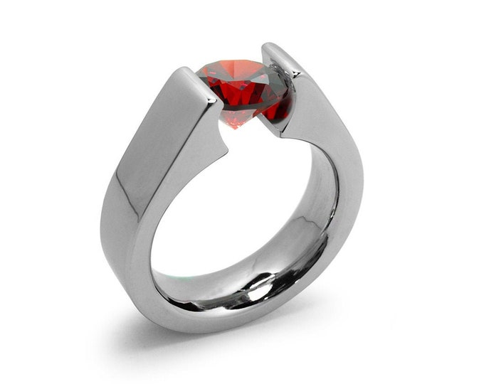 1ct Garnet Tension Set Steel High setting Engagement Ring by Taormina Jewelry
