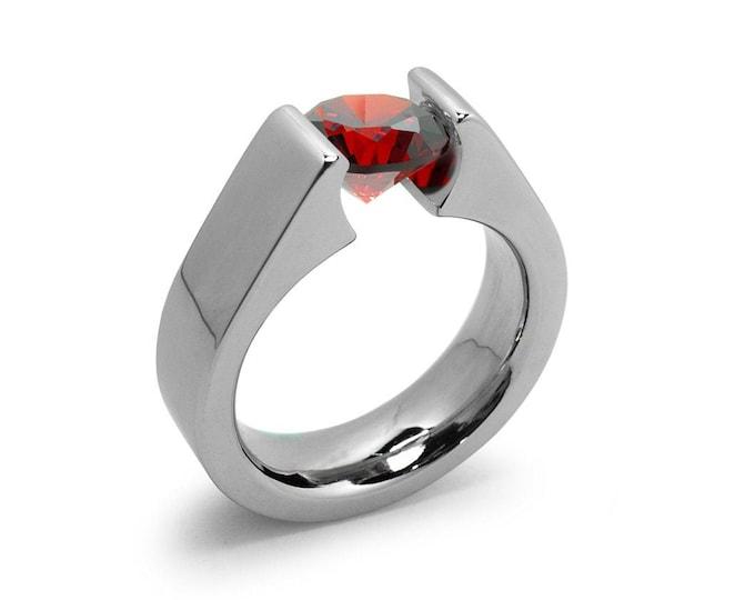 1ct Garnet Tension Set Steel High setting Engagement Ring