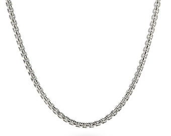 4 mm Box Link Chain Stainless Steel Necklace for Pendants and Charms