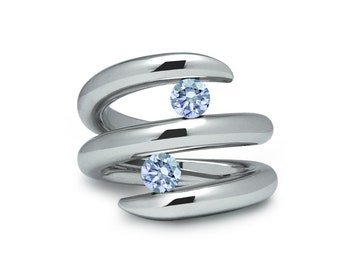 Two Blue Topaz Double row Bypass Tension Set Ring in Stainless Steel by Taormina Jewelry