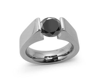1ct Black Onyx Tension Set Steel High setting Engagement Ring