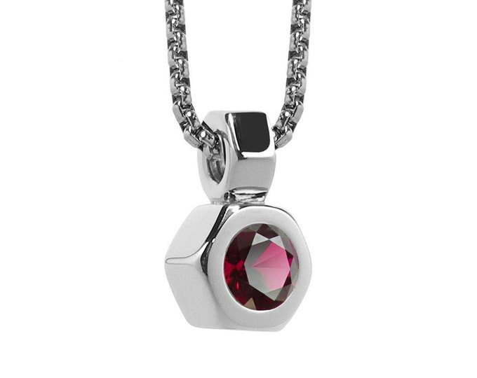 Hex Nut Pendant with Garnet in Stainless Steel by Taormina Jewelry