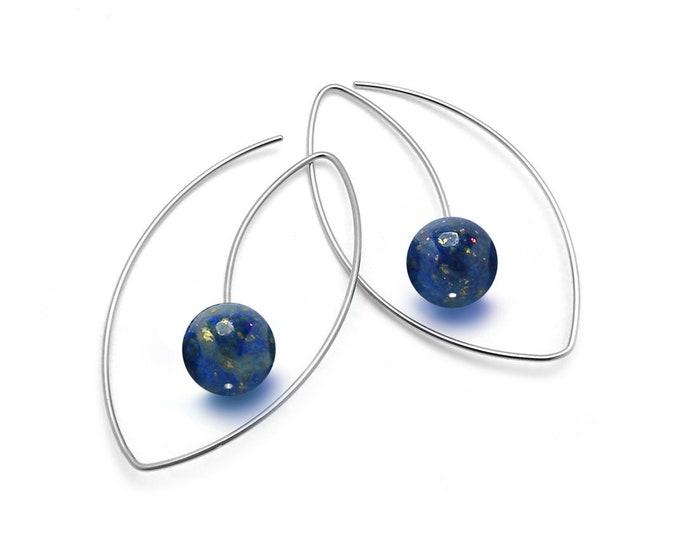 Lapis Lazuli Drop Oval wire Earrings in Stainless Steel by Taormina Jewelry