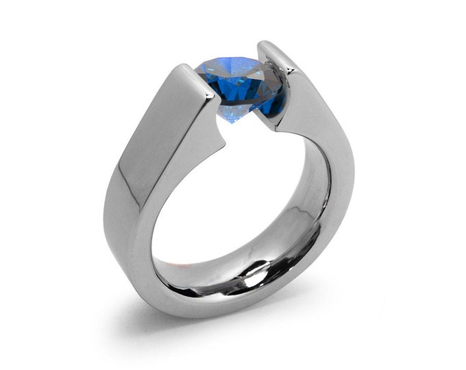 1ct Blue Sapphire Tension Set Steel High setting Engagement Ring by Taormina Jewelry