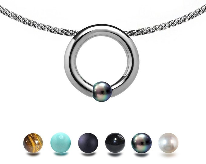 Cable Choker with Tension Set Semiprecious Spheres in Stainless Steel by Taormina Jewelry
