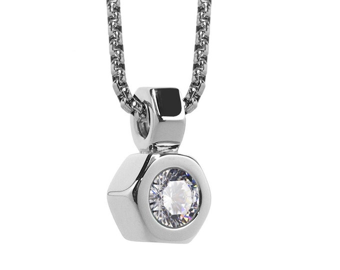 Hex Nut Pendant with White Sapphire in Stainless Steel