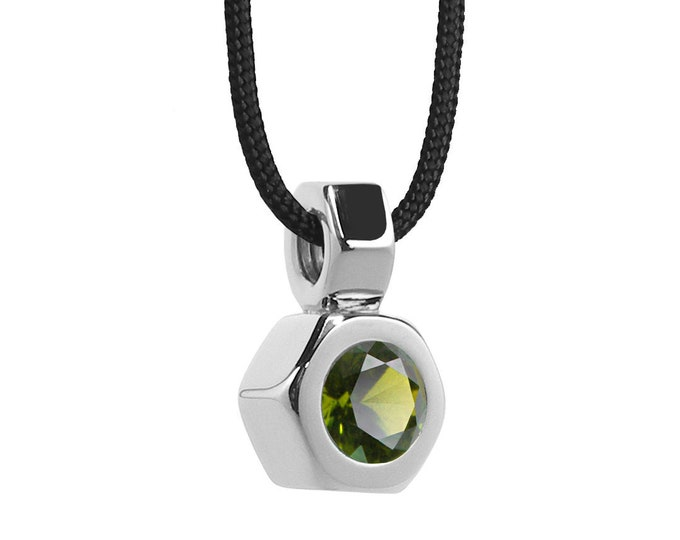 Hex Nut Pendant with Peridot in Stainless Steel by Taormina Jewelry