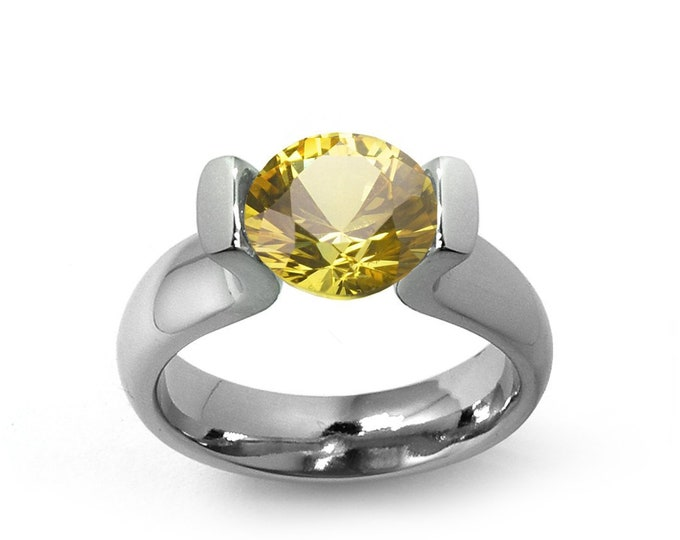 2ct, 1.5ct and 1ct Yellow Sapphire Tension Set in a Stainless Steel Mounting