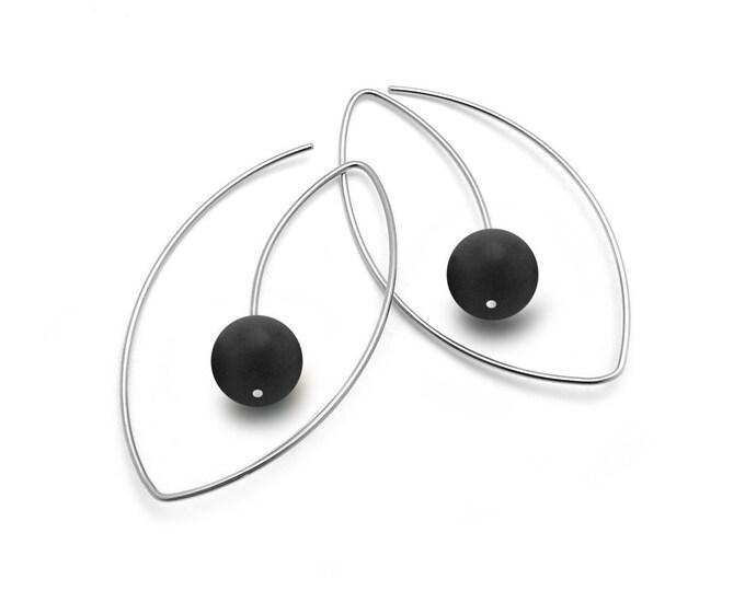 Obsidian Wire Oblong Earrings in Stainless Steel by Taormina Jewelry