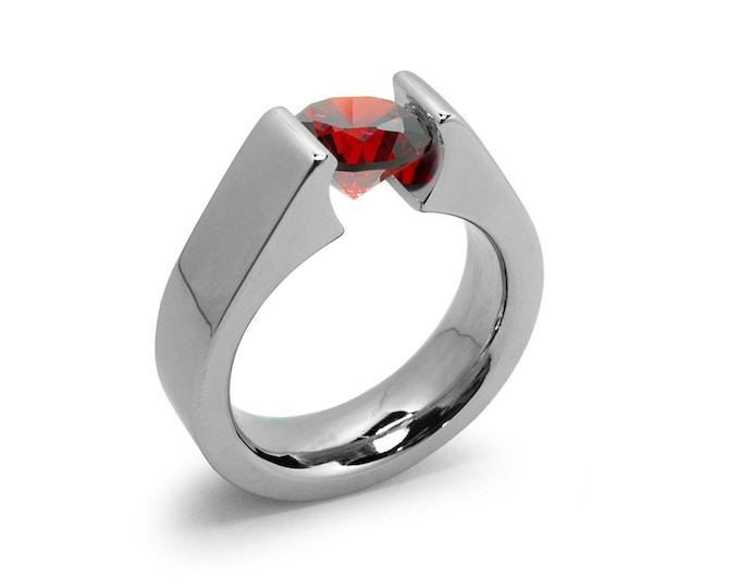 1.5ct Garnet Tension Set Steel High setting Engagement Ring