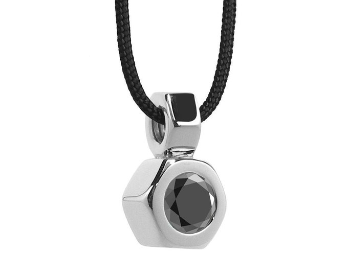 Hex Nut Pendant with Black Onyx in Stainless Steel by Taormina Jewelry