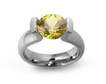 2ct Yellow Sapphire Lyre shaped Tension Set Ring in Stainless Steel