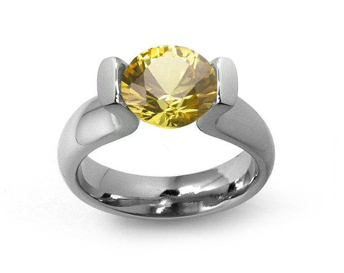 1ct Yellow Sapphire Lyre shaped Tension Set Ring in Stainless Steel