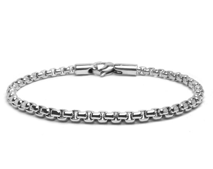 4 mm Box Link Chain Stainless Steel Bracelet