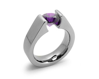 1.5ct Amethyst Tension Set Steel High setting Engagement Ring