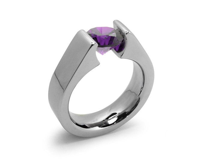 2ct Amethyst Tension Set Steel High setting Engagement Ring