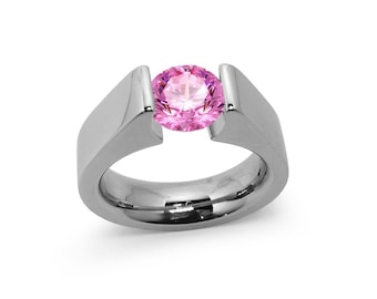 1ct Pink sapphire Tension Set Steel High setting Engagement Ring