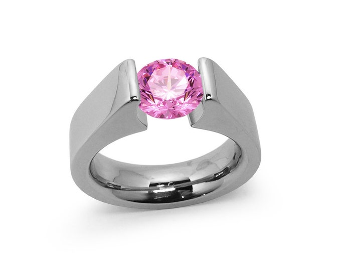1ct Pink sapphire Tension Set Steel High setting Engagement Ring by Taormina Jewelry