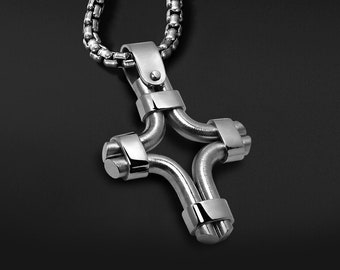 Unique Mens Cross Necklace in Stainless Steel Modern Mens Jewelry by Taormina Jewelry