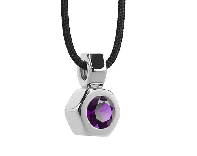 Hex Nut Pendant with Amethyst in Stainless Steel by Taormina Jewelry