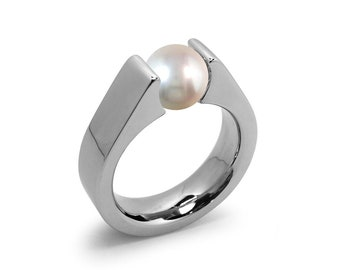White Pearl Tension Set Steel High setting Engagement Ring by Taormina Jewelry