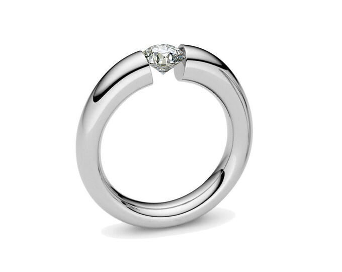 1ct White Sapphire Tension Set Ring Stainless Steel Engagement or Wedding ring
