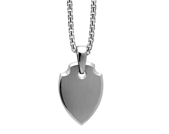 Shield Amulet in Stainless Steel by Taormina Jewelry