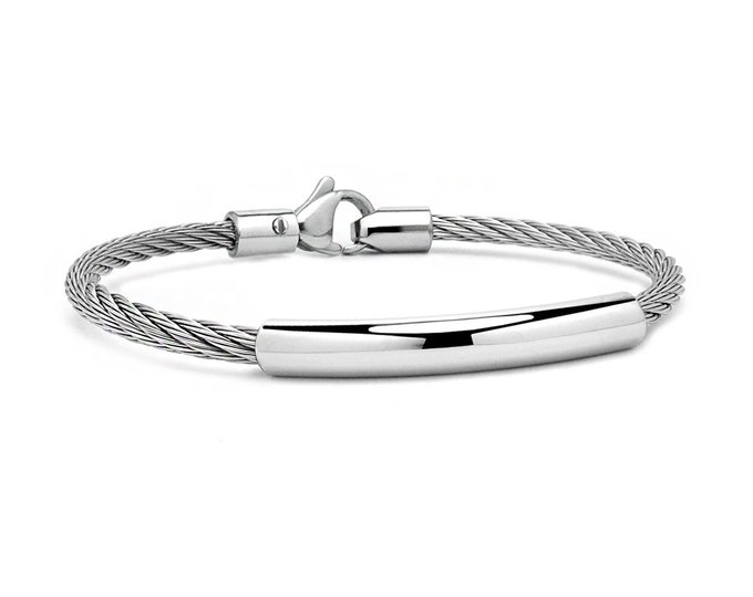 3 mm Stainless Steel ID Cable Wire Bracelet by Taormina Jewelry
