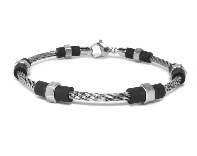 Hex Stainless Steel Cable Wire Bracelet and Black PVC Rubber