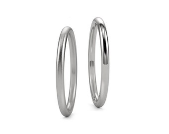 1mm 1.5mm and 2mm Halo Wedding Simple Thin Ring Band in Polished or Satin Brushed Finish Stainless Steel by Taormina Jewelry