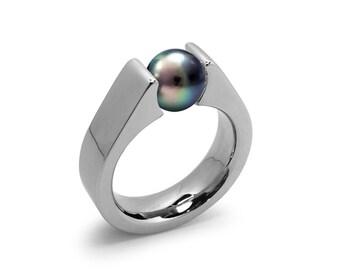 Black Pearl Tension Set Steel High setting Engagement Ring