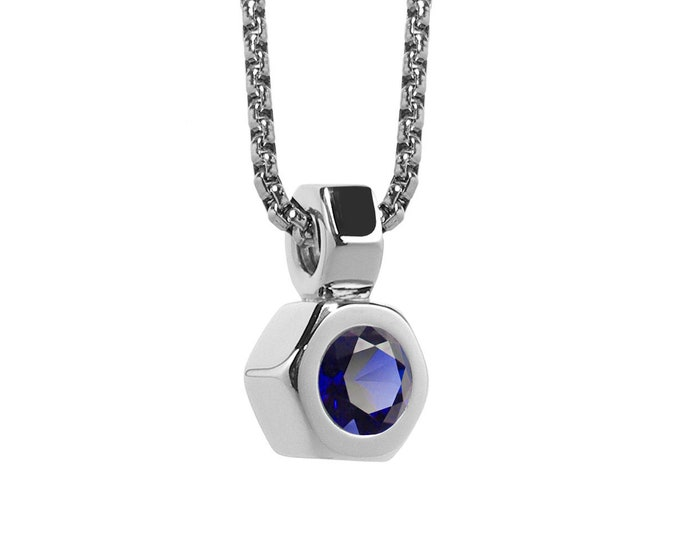 Blue Sapphire Hex Nut Pendant in Stainless Steel by Taormina Jewelry